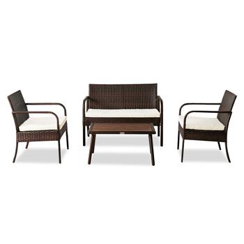 【Magazyn amerykański】 oshion wypoczynek na świeżym powietrzu meble rattanowe krzesło rattanowe mały czteroczęściowy stolik kawowy solidny drewniany stolik kawowy-brązowy tanie i dobre opinie 85359468 Ogród zestaw Meble ogrodowe