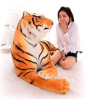 [Funny] 230cm Super big king of forest simulation large tiger Stuffed Plush toy doll model sofa car Animal Cushion Hold pillow