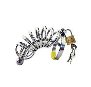 Sex Shop nueva jaula de castidad para hombre de acero inoxidable anillo de Metal para pene jaula de castidad Dispositivo de Castidad juego para adultos juguetes sexuales para hombres