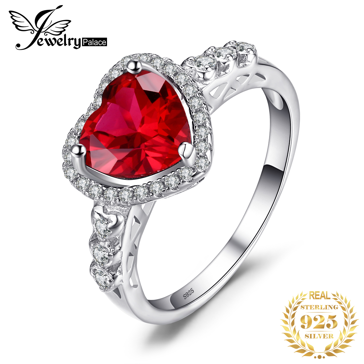 JewPalace Heart Of Ocean 3ct Created Ruby Ring 925 Sterling Silver Rings For Women Engagement Ring Silver 925 Gemstones Jewelry