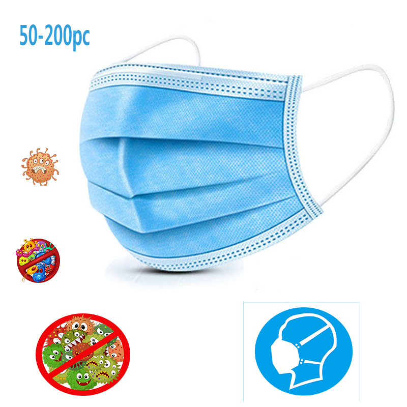 50pc Three-layer Disposable Masks  Delivery Dust Mist Spray Pollen Ventilation Mask