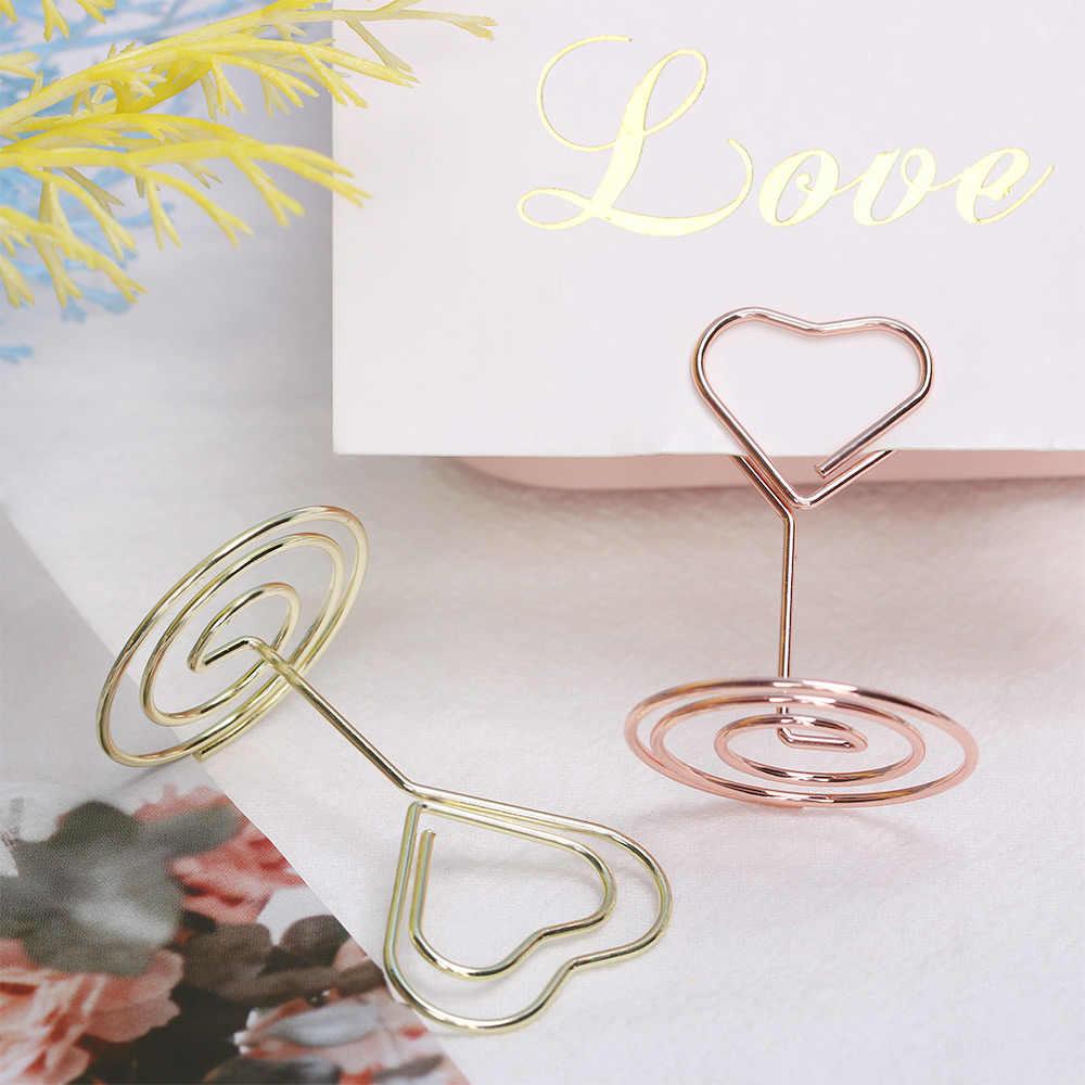 Clipe romântico para número de mesa e casamento, clipe romântico para fotos, formato de coração, suporte de mesa para festa, decoração de mesa, cartão, 1 peça