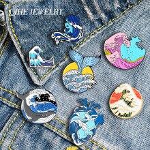 QIHE biżuteria fala wieloryb seria emaliowane przypinki niebieski Ocean broszki modne odznaki serce szpilki słodkie prezenty dla przyjaciół hurtowych