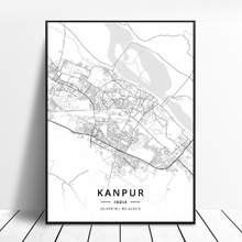 Kanpur Varanasi Jaipur Thane Belgaum Hyderabad India Tela di canapa di Arte Mappa Poster