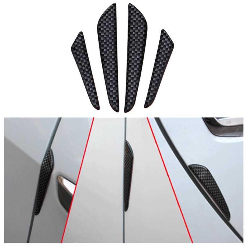 4 unids/lote negro plata fibra de carbono ajuste delantero parachoques labio divisor Fin Auto cuerpo Kit coche Spoiler barbas