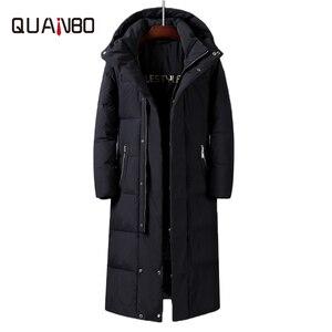 Mulheres masculinas x-long pato branco para baixo jaquetas 2019 novo inverno sobre o joelho engrossar quente destacável chapéu casacos masculinos canadá casaco