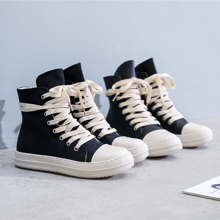 High-top Shoes Men And Women Couples Thick-soled Canvas Shoes Plus Velvet Casual Sneakers Women Off White Shoes  Womens Shoes