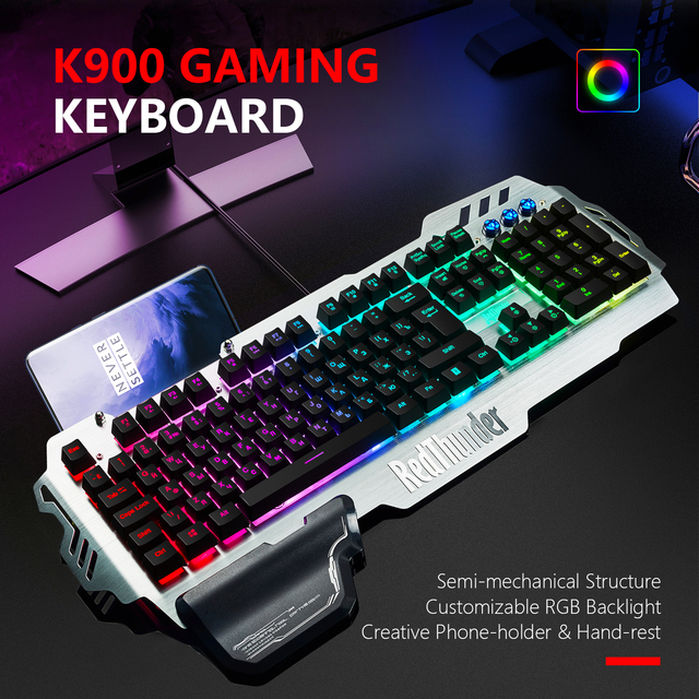 RedThunder K900 RGB Wired Gaming Keyboard 25 Keys Anti-Ghosting Mechanical Feel Ergonomics for PC Russian Spanish French 2