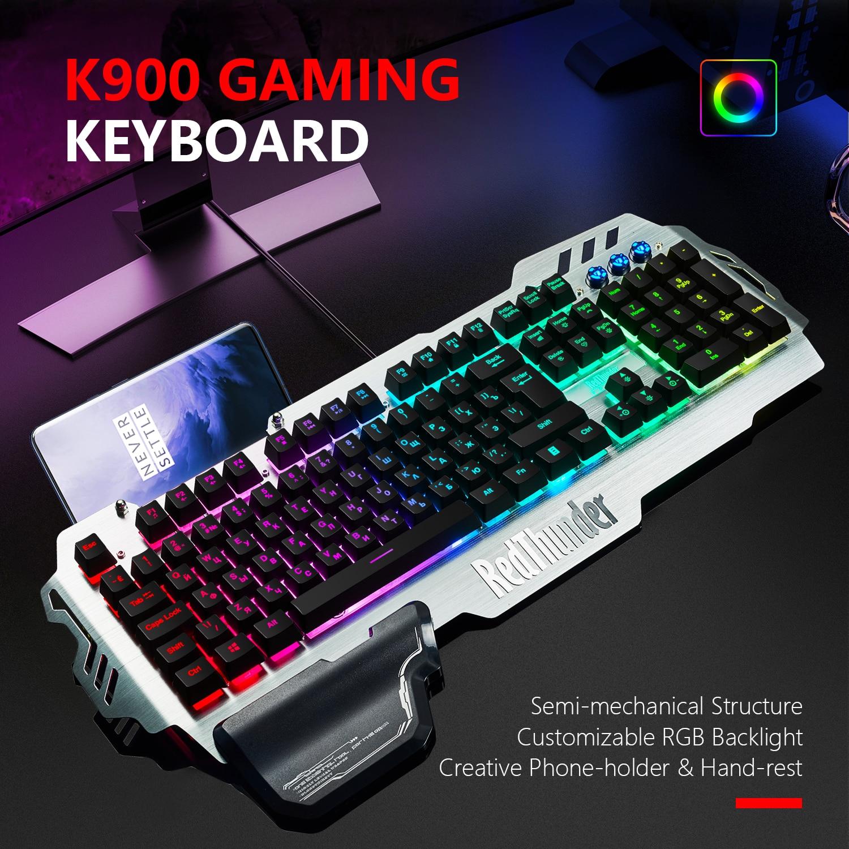 Image 2 - RedThunder K900 RGB Wired Gaming Keyboard Mechanical Feel 25 Keys Anti ghosting Ergonomics for PC Russian Spanish FrenchKeyboards   - AliExpress