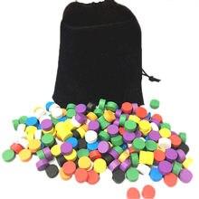 320 pces com diâmetro do saco 10*5mm 8 cores peças de jogo de madeira do peão colorido/xadrez para o jogo de tabuleiro/jogos educativos