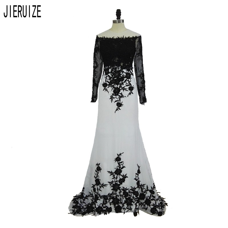 JIERUIZE Modern Mermaid Wedding Dresses O-Neck Long Sleeve White And Black Lace Applique Bridal Gowns Zipper Back Robe De Mariee