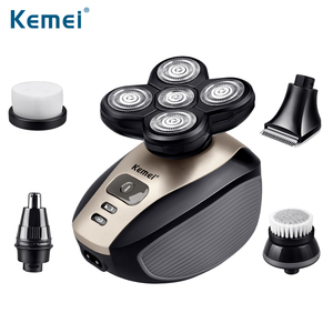 kemei electric shaver for men 5 in 1 Rotatable cutter head Suit Nose trimmer hair clipper razor Hair comb Beard shaving machine