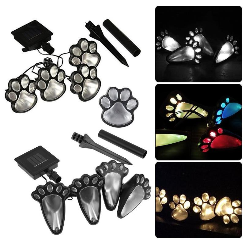 4 Solar Cat Animal Paw Print Lights Garden Outdoors Lantern LED Path Lamp Path Decorative Lighting Footprints Lamp