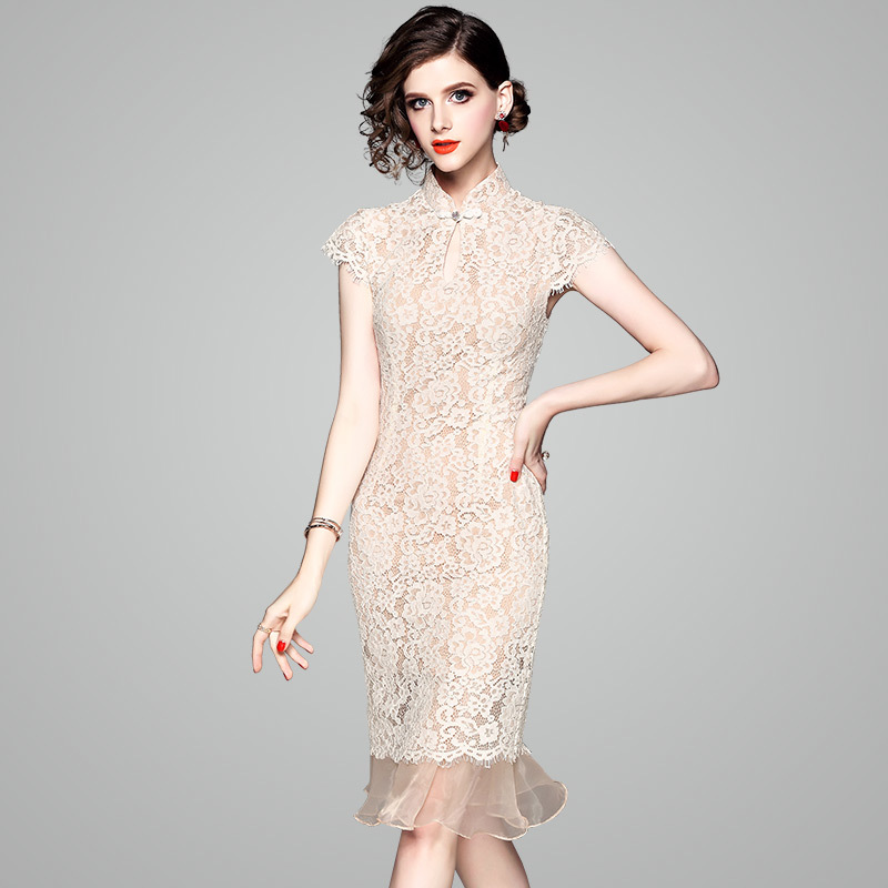 Fashion Lace Chinese Cheongsam Champagne Vintage Woman   Evening     Dresses