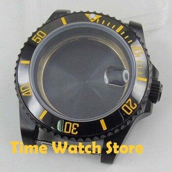 40mm PVD watch case sapphire glass black fit DG 2813 ETA 2836 Miyota 8215 movement ceramic bezel for SUB men's watch