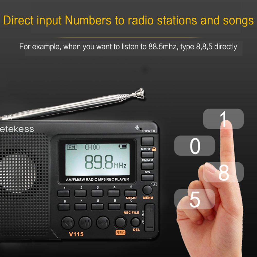 RETEKESS V115 радио FM AM SW портативный Радио Карманный с USB MP3 цифровой рекордер поддержка Micro SD TF карты таймер сна подарок