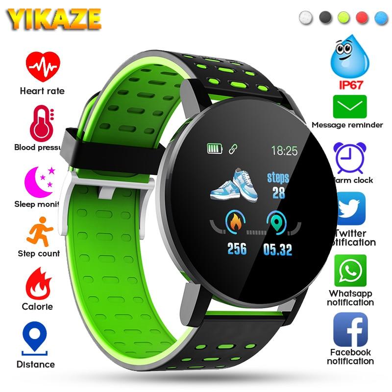 2020 119 Plus Smart Watch Men Women Blood Pressure Waterproof Sport Round Smartwatch Smart Clock Fitness Tracker For Android IOS 1