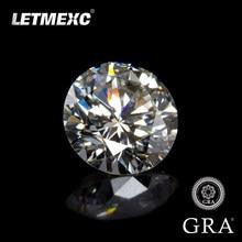 Corte excelente da pedra preciosa vvs1 da cor do ct d do diamante 3mm a 8mm 0.1-2.0 das gemas de moissanite de letmexc para anéis feitos sob encomenda com gra