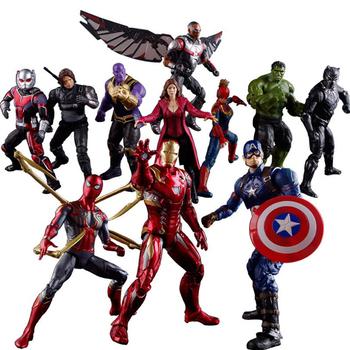 Super bohater kapitan ameryka Ironman czarna wdowa Hawkeye Ant-man czarna pantera wizja Thanos zabawki Marvel Avengers figurka tanie i dobre opinie Disney lalka winylowa CN (pochodzenie) Unisex 18cm Age 6+ Model Wersja zremasterowana 6 lat Wyroby gotowe Zachodnia animacja