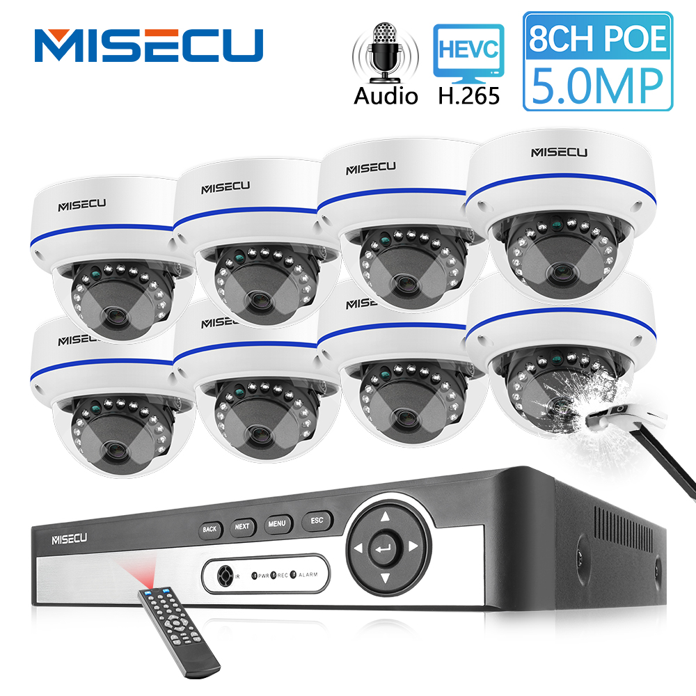 MISECU H.265 8CH 5MP 4MP POE Security System Dome Camera Indoor Vandal Proof  Wide Angle 2.8mm Audio Record Surveillance Kit