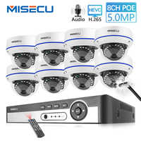 MISECU H.265 8CH 5MP POE Sicherheit System Indoor Dome Kamera Weitwinkel 2,8mm Vandal Proof Kamera Audio Record Überwachung kit