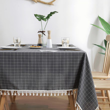 New Plaid Tablecloth With Tassel Haute Decorate Linen Waterproof Thick Rectangular Wedding Table Cover Simple Dining Cloth