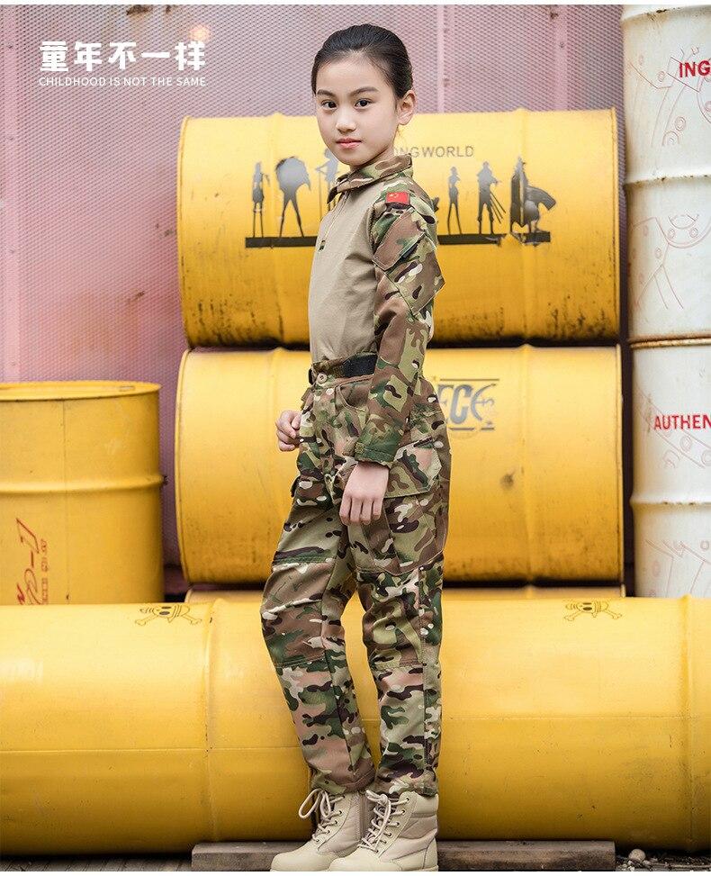 Летний детский Тактический костюм с длинными рукавами, комплект CP Camo, детская тактическая камуфляжная футболка MC, тактическая Униформа скаутов