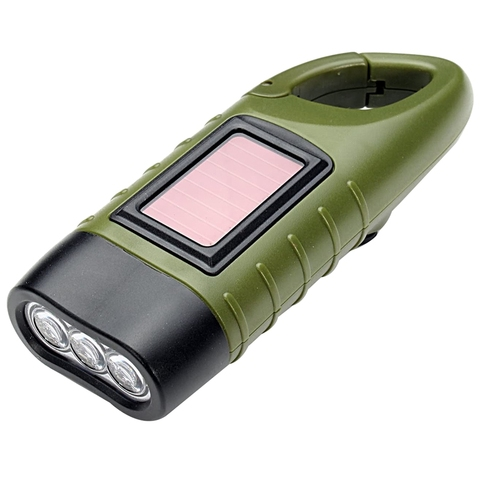 Special Offer Solar Hand Cranking Powered Rechargeable Flashlight Emergency LED Flashlight Dynamo Quick Snap Clip Backpack (Green) — stackexchange