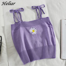 HELIAR Women Knitted Crop Tops Flower Embroidery Girls Straps Crop Tops Women Harajuku Cute Tops For Women Summer Clothes