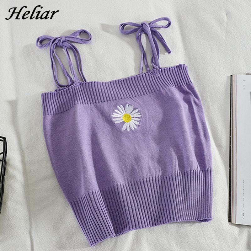 HELIAR Women Knitted Crop Tops Women Flower Embroidery Straps Sweet Crop Tops Women Harajuku Cute Tops For Women Summer