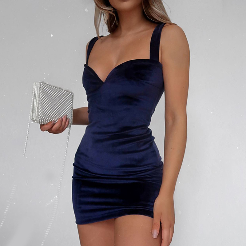 WannaThis Blue V-Neck Spaghetti Strap Sexy Mini Party Dresses Sleeveless Skinny Soft Women Backless Summer Fashion Slim Dresses 2
