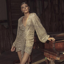 V Neck Full Sleeved Party Dress Sequined Pleated Stretch Night Club Mini Lantern Sleeve