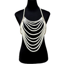 Fashion Jewelry Statement Pearl Beads Armor Shoulder Body Chain Harness Necklace Initial  Layered  Harajuku layered faux pearl body chain