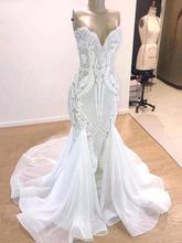 רומנטי גב פתוח תחרת בת ים שמלות כלה 2020 יוקרה חרוזים אבנים מתוקה צוואר חתונה כלה שמלות Vestido דה Noiva