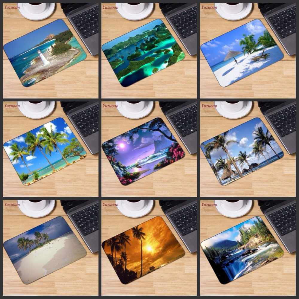 Yuzuoan Beach Sea Palm Scenery Big Promotion Russia Computer Gaming Mouse Pad Mousepads Decorate Your Desk Non-Skid Rubber Pad