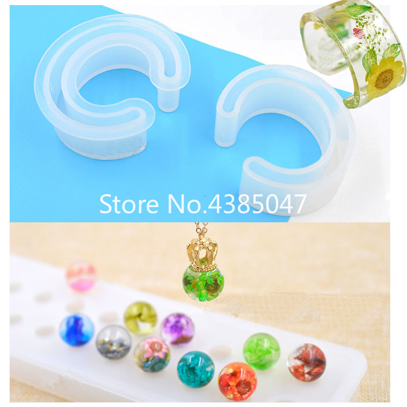 1PC Stereo Flat Spheric/C Shaped Jewelry Making Mold Silicone Mould Epoxy Resin Mold For Jewelry DIY Resin Decorative Craft
