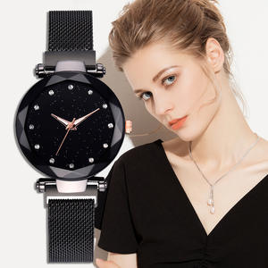 Women Watch Buckle Quartz-Wristwatch Mesh-Band Rhinestone Sky Stainless-Steel Black Luxury