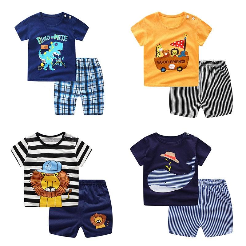 Новинка, летняя детская одежда для маленьких мальчиков принт в виде робота, футболка с короткими рукавами + шорты комплект из 2 предметов, ко...