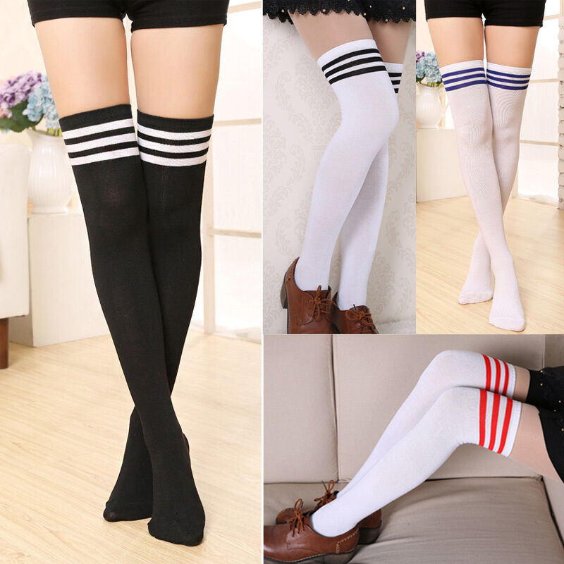 Womens Lady Girls Opaque Over Knee Thigh High Stockings Strip Sock Leggings Cotton Striped Sweat-Absorbent Breathable Stockings
