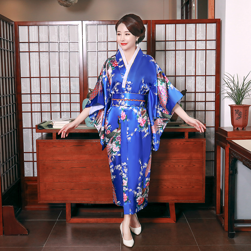 Blue Evening Party Prom Dress Gown Women Three Quarter Sleeve Performance Clothing Long Rayon Japanese Kimono Bathrobe Gown