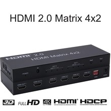 4 k hdmi interruptor de matriz 4x2 hdmi 2.0 saída de interruptor de matriz 4 k @ 60hz 3d-fullhd 1080p apoio-4 entrada 2 interruptor de