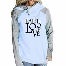 Женские хлопковые толстовки с капюшоном на молнии надписью «faith