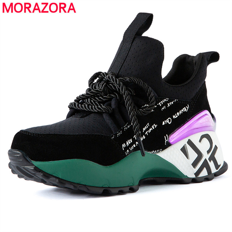MORAZORA 2020 New Arrive Fashion Women Sneakers Black Lace Up Genuine Leather Leisure Shoes Simple Round Toe Breathable Shoes