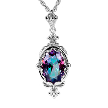Fashion Pendant Women Handmade Mystic Rainbow Lab Topaz Stone Bohemia 925 Sterling Silver Necklace Pendant Party Vintage Jewelry