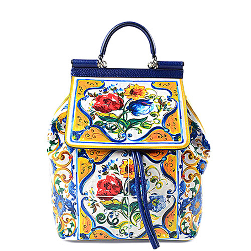 Luxury Italy Brand Sicily Ethnic Style Bag Genuine Cow Leather Sicilian Women Famous Designer Flowers Printed Shoulder Bags Sacs