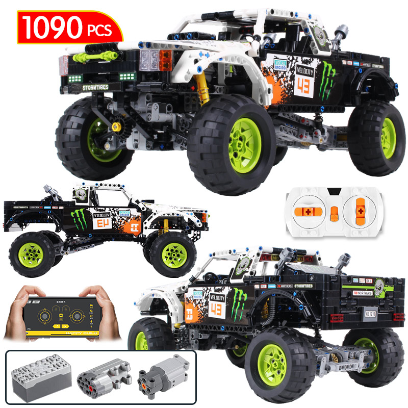 1090Pcs Technic City Off Road Vehicle Fit Lego Model Building Blocks SUV RC/non-RC Racing Car Truck Bricks For Toys Boys