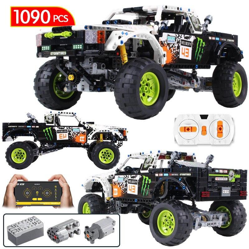 1090Pcs Technic City Off Road Vehicle Model Building Blocks SUV RC/non-RC Racing Car Truck Bricks For Toys Boys