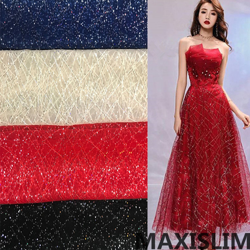 NEW 3MM Sequin Voile Fabric DIY Craft Making Cloth Material For Show Wedding  Important Occasion  Wide 130cm Free Shoping