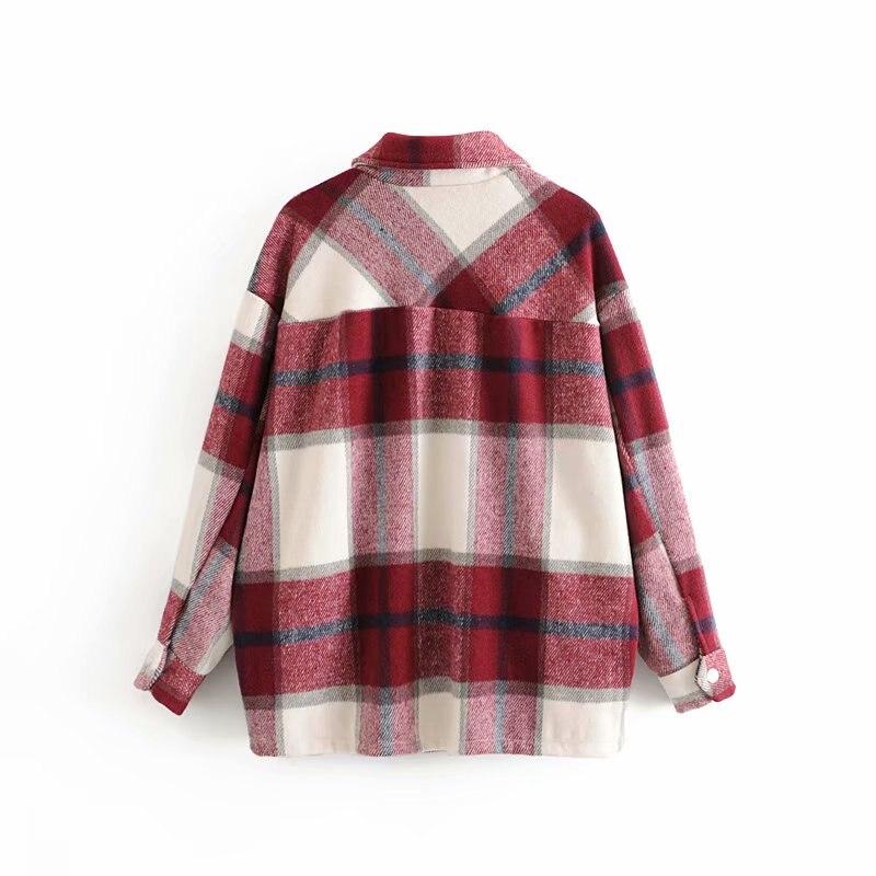 Зимние клетчатые куртки, женские куртки больших размеров, Свободные повседневные клетчатые куртки с длинным рукавом, пальто, женская винта...