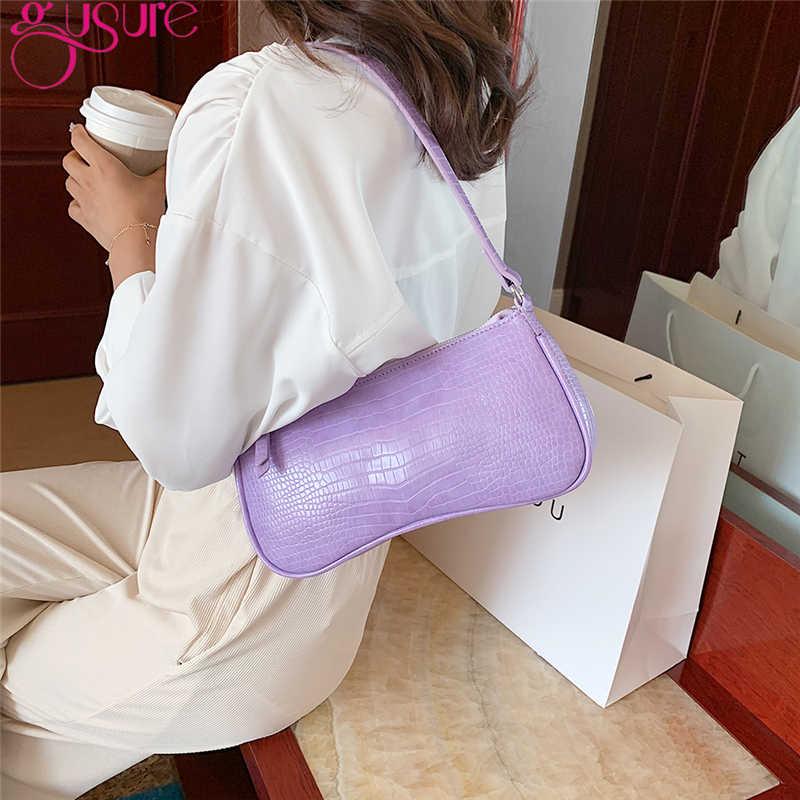 Gusure Retro timsah desen kadın haberci çanta kese PU deri sokak rahat katı fermuar omuz çantaları Bolsa Mujer 2020